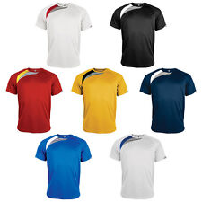 New Mens Kariban Proact Quick Dry Contrast Short Sleeve Sports Tshirt Size S-XXL