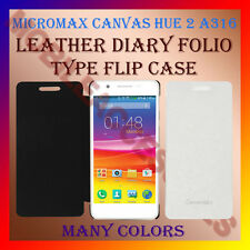 ACM-LEATHER DIARY FOLIO FLIP CASE for MICROMAX CANVAS HUE 2 A316 MOBILE COVER