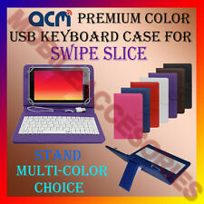 "ACM-USB COLOR KEYBOARD 7"" CASE for SWIPE SLICE TABLET LEATHER COVER STAND FLIP"