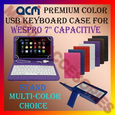 "ACM-USB COLOR KEYBOARD 7"" CASE for WESPRO 7'' CAPACITIVE  LEATHER COVER STAND"