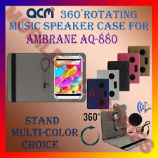 "ACM-PORTABLE MUSIC SPEAKER 360° ROTATING 8"" CASE for AMBRANE AQ-880 TABLET COVER"