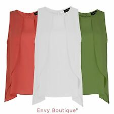 LADIES WOMENS SUMMER CASUAL CHIFFON LOOSE SLEEVELESS VEST SHIRT TOPS BLOUSE 8-22