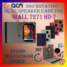 "ACM-PORTABLE MUSIC SPEAKER 360° ROTATING 7"" CASE for IBALL 7271 HD-7 TAB COVER"