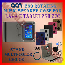 "ACM-PORTABLE MUSIC SPEAKER 360° ROTATING 7"" CASE for LAVA E TABLET Z7H Z7C COVER"