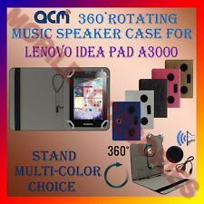 "ACM-PORTABLE MUSIC SPEAKER 360° ROTATING 7"" CASE for LENOVO IDEA PAD A3000 COVER"