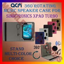 "ACM-PORTABLE MUSIC SPEAKER 360° ROTATING 7"" CASE for SIMMTRONICS XPAD TURBO TAB"