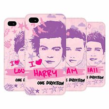 OFFICIAL ONE DIRECTION 1D  PINK GRAPHIC FACES HARD BACK CASE FOR APPLE iPHONE 4