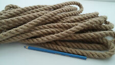14mm Natural Jute Hessian Rope Cord Braided Twisted Boating Sash Garden Decking