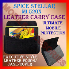 ACM-HORIZONTAL LEATHER CARRY CASE for SPICE STELLAR MI 520N MOBILE POUCH COVER