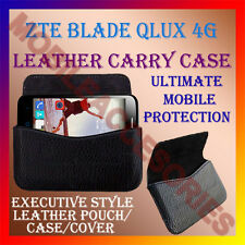 ACM-HORIZONTAL LEATHER CARRY CASE for ZTE BLADE QLUX 4G MOBILE RICH POUCH COVER