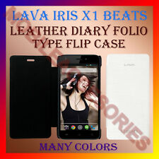 ACM-LEATHER DIARY FOLIO FLIP FLAP CASE for LAVA IRIS X1 BEATS MOBILE FULL COVER