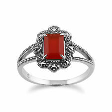 925 Sterling Silver Art Deco 0.85ct Orange Carnelian & Marcasite Ring