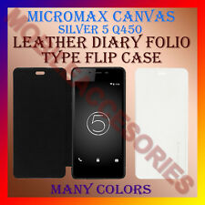 ACM-LEATHER DIARY FOLIO FLIP CASE of MICROMAX CANVAS SILVER 5 Q450 MOBILE COVER