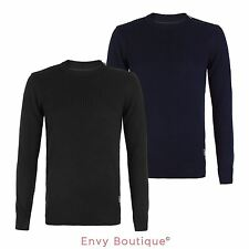 NEW MENS KNITTED JUMPER ZIP SHOULDER PULLOVER TOP RIBBED CREW NECK SWEATER S-XL