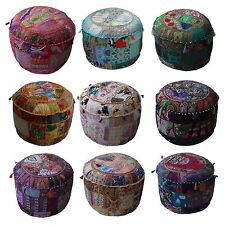 Indian Handmade Traditional Decorative Patchwork Ottoman