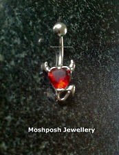 Devil Heart Belly Bar Little Devil With Red Crystal Jewel Navel Gold Or Silver