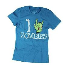 Goodie Two Sleeves Girl-Shirt I LOVE ZOMBIES blue