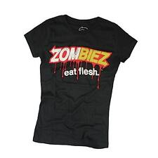 Goodie Two Sleeves Girl-Shirt ZOMBIEZ EAT FLESH black