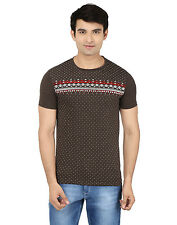 Minute Merge Brown Coloured Cotton Half Sleeve Printed T-Shirt (rts45)