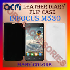 ACM-LEATHER DIARY FOLIO FLIP FLAP CASE for INFOCUS M530 MOBILE FRONT/BACK COVER