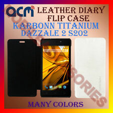 ACM-LEATHER DIARY FOLIO FLIP FLAP CASE for KARBONN TITANIUM DAZZLE 2 S202 COVER