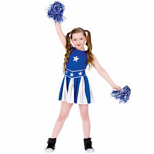 Girls Blue & White High School Cheerleader Halloween Fancy Dress Costume Outfit