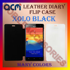 ACM-LEATHER DIARY FOLIO FLIP FLAP CASE for XOLO BLACK MOBILE FRONT/BACK COVER