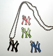 Collana Ciondolo NEW YORK YANKEES Lunga PALLINE Smaltato Logo BASEBALL Hip Hop