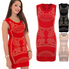 Womens Celeb Inspired Sleeveless Paisley Studded Sexy Short Bodycon Dress