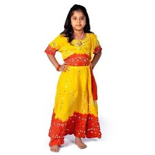 Jaipuri Traditional Bandhej Design Red  Yellow Lehenga Choli Dress EIDLI4GED119C
