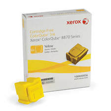 GENUINE XEROX YELLOW SOLID WAX INK STICKS 6 PACK FOR COLORQUBE 8870 (108R00956)