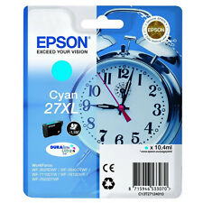 GENUINE EPSON 27XL ALARM CLOCK HIGH CAPACITY CYAN INK CARTRIDGE (C13T27124010)