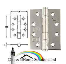 3 X HAFELE STAINLESS STEEL BALL BEARING BUTT HINGE 102 x 76 mm - GRADE 13