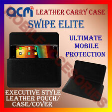 ACM-HORIZONTAL LEATHER CARRY CASE for SWIPE ELITE MOBILE POUCH COVER HOLDER NEW