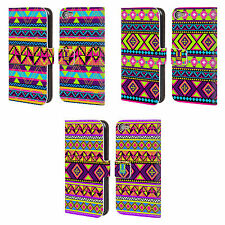 HEAD CASE DESIGNS NEON AZTEC LEATHER BOOK WALLET CASE COVER FOR APPLE iPOD TOUCH
