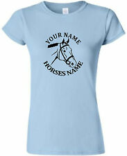 HORSE RIDING PERSONALISED LADIES FITTED  T-SHIRT - HORSE HEAD PERSONALISED
