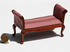 Dollhouse Furniture Cherry Settee in Pink Damask Stripe Fabric