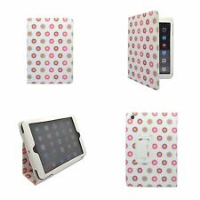 APPLE IPAD MINI  WHITE MULTI COLOUR DOTS DESIGN PRINT PU LEATHER CASE COVER