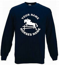 KIDS HORSE RIDING JUMPER - HORSE JUMPING PERSONALISED SWEATER HORSE 5-15