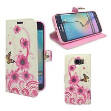 SAMSUNG GALAXY S6 EDGE WHITE PINK SWIRL FLOWER BUTTERFLY PRINT PU LEATHER WALLET
