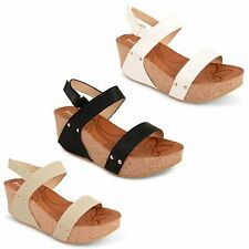 Womens Ladies Ankle Strappy Sandals Platform Chunky Wedge Heel Flatform Shoes