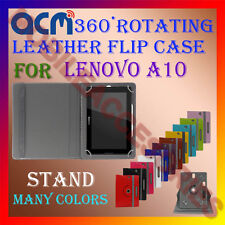 ACM-ROTATING 360° LEATHER FLIP STAND COVER CASE for LENOVO A10 TABLET TAB CARRY