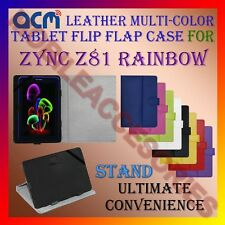 ACM-LEATHER FLIP MULTI-COLOR COVER CASE STAND for ZYNC Z81 RAINBOW TABLET TAB