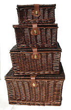 Strong Brown Wicker Picnic Gift Storage Xmas Christmas Empty Hamper Basket Gift