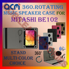 "ACM-PORTABLE MUSIC SPEAKER 360° ROTATING 7"" CASE for MITASHI BE102 TABLET COVER"