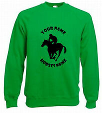 KIDS HORSE RIDING JUMPER -  RACING HORSE PERSONALISED SWEATER HORSE 5-15