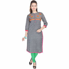 Little India Chinese Collar Printed Stylish Designer Cotton Kurti EI5KUR330