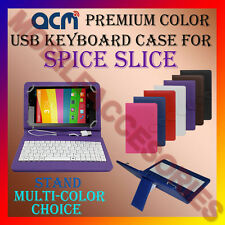 "ACM-USB COLOR KEYBOARD 7"" CASE for SPICE SLICE TABLET LEATHER COVER STAND CARRY"