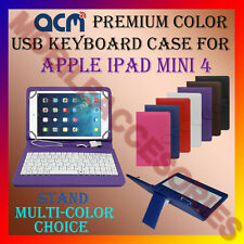 "ACM-USB COLOR KEYBOARD 8"" CASE for APPLE IPAD MINI 4 TABLET LEATHER COVER STAND"