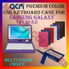 """ACM-USB COLOR KEYBOARD 8"""" CASE for SAMSUNG GALAXY TAB S2 8.0 LEATHER COVER STAND"""